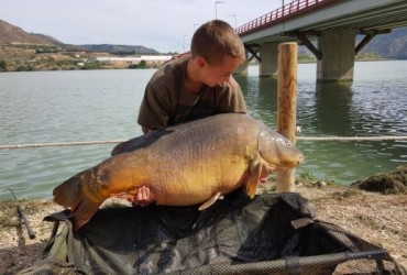 Un niño de 15 años pesca una carpa de 31 kilos en Mequinenza