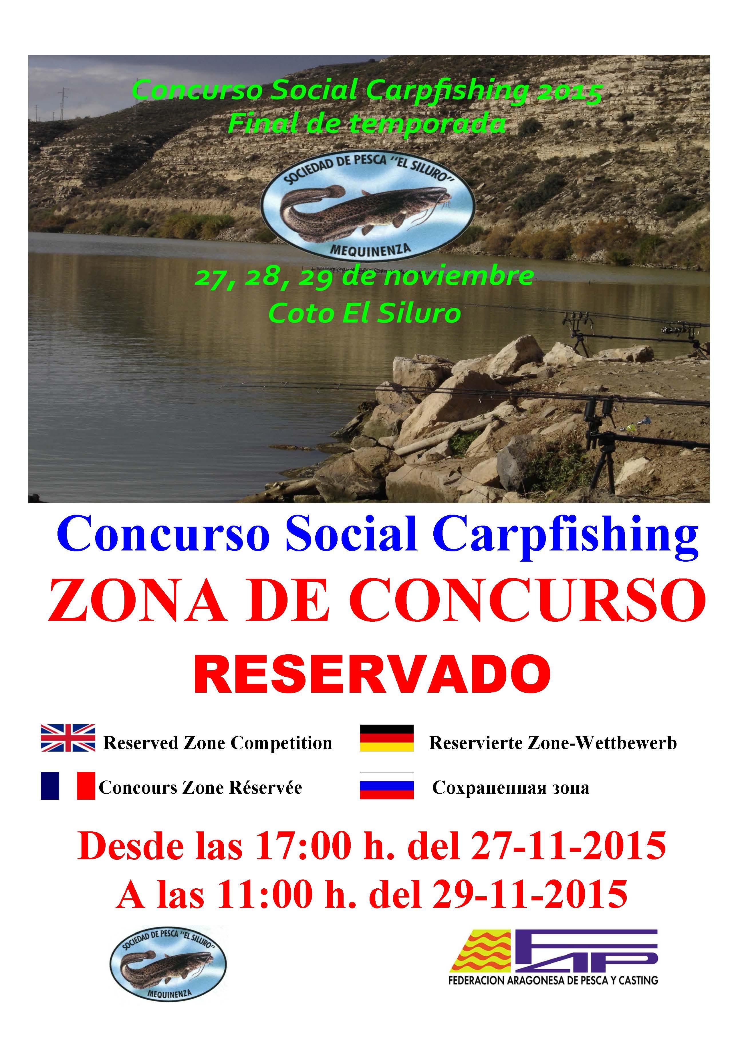 CARTEL  concurso carpfishing final temporada 27 al 29-11-15 zona reservada (VARIAS ZONAS)-1